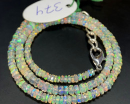 35.70 Crts Natural Welo Faceted Opal Beads Necklace 374