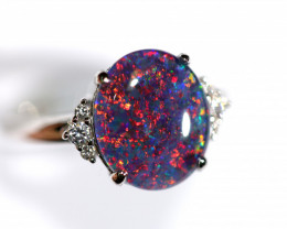 925 ST/ SILVER RHODIUM PLATED TRIPLET OPAL RING [FR81]