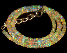 37 Crts Natural Welo Faceted Opal Beads Necklace 457