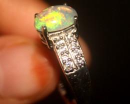 Ethiopian Fire Opal 925 Silver Ring Size US (7) 529