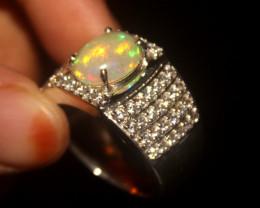 Ethiopian Fire Opal 925 Silver Ring Size US (9) 542