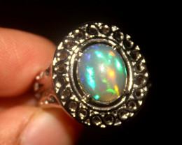 Ethiopian Fire Opal 925 Silver Ring Size US (7) 518