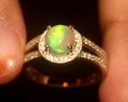 Ethiopian Fire Opal 925 Silver Ring Size US (7) 539