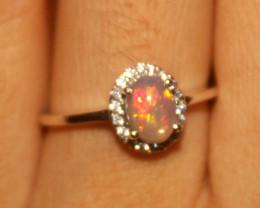 Ethiopian Fire Opal 925 Silver Ring Size US (6.5) 534