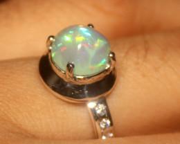 Ethiopian Fire Opal 925 Silver Ring Size US (8.5) 535