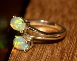 Ethiopian Fire Opal 925 Silver Ring Size US (6.5) 536