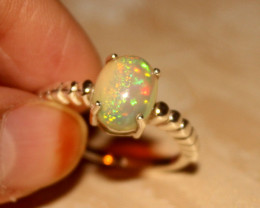 Ethiopian Fire Opal 925 Silver Ring Size US (10) 496