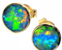 Australian Stud Opal Earrings Gift Idea 14kt Gold 4.7ct E49