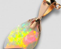 Natural Australian Solid Opal Pendant 3.2ct 14k Pink Gold Gem E30
