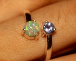 Ethiopian Fire Opal & Tanzanite 925 Silver Ring Size US (6.5) 494