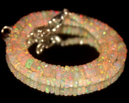 38.85 Crts Natural Welo Faceted Opal Beads Necklace 442