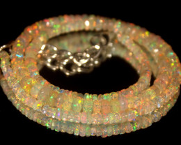 38.35 Crts Natural Welo Faceted Opal Beads Necklace 444