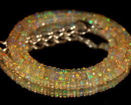 37.20 Crts Natural Welo Faceted Opal Beads Necklace 445