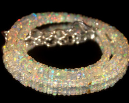34.65 Crts Natural Welo Faceted Opal Beads Necklace 446