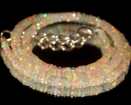 38.85 Crts Natural Welo Faceted Opal Beads Necklace 447