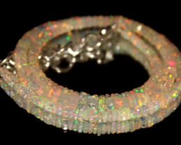 37 Crts Natural Welo Faceted Opal Beads Necklace 448