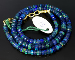 46 Crts Natural Welo Faceted Smoked Opal Beads Necklace 15