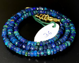 40 Crts Natural Welo Faceted Smoked Opal Beads Necklace 36