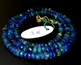 45 Crts Natural Welo Faceted Smoked Opal Beads Necklace 38