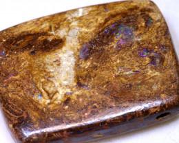 91.70CTS BOULDER OPAL WOOD PENDANT DRILLED RO- 1578   raniopals