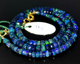 50 Crts Natural Welo Faceted Smoked Opal Beads Necklace 45