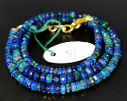 40 Crts Natural Welo Faceted Smoked Opal Beads Necklace 51