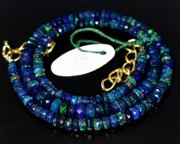41 Crts Natural Welo Faceted Smoked Opal Beads Necklace 53
