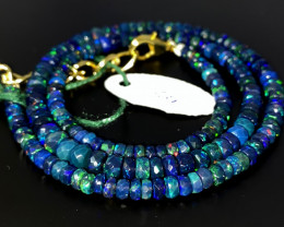 41 Crts Natural Welo Faceted Smoked Opal Beads Necklace 54