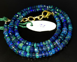 40 Crts Natural Welo Faceted Smoked Opal Beads Necklace 56