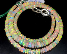 36.25 Crts Natural Welo Faceted Opal Beads Necklace 507