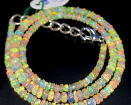 35.95 Crts Natural Welo Faceted Opal Beads Necklace 508