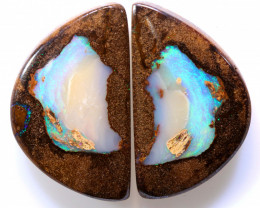 27.50 CTS BOULDER PIPE CRYSRTAL OPAL POLISHED STONE PAIR NC-9419