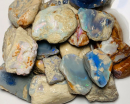 Please Watch The Video - Big Size Rough Opal with Bright Colours & Great Po