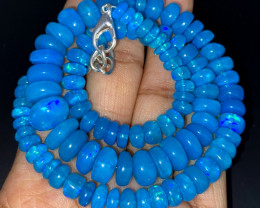 128.65 Crts Natural Welo Dyed Blue Opal Beads Necklace 226