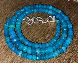 59.85 Crts Natural Welo Dyed Blue Faceted Opal Beads Necklace 243