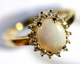 925 ST/ SILVER RHODIUM PLATED TRIPLET OPAL RING [FR 86 ]