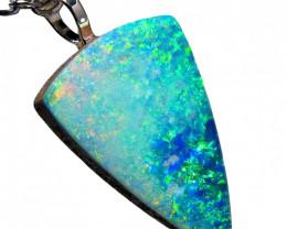 Australian Opal Pendant Solid Silver 4.15ct Doublet RRP: $185!