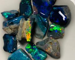 Sharp Bright Black Opals to Cut & Polish