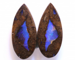 14.80 CTS BOULDER PIPE CRYSRTAL OPAL POLISHED STONE PAIR NC-9443 Niceopals