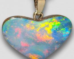 Australian Opal Doublet Heart Pendant 5.05ct 14k Jewelry Gift E35
