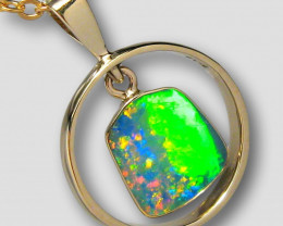 Australian Opal Pendant 14kt Gold Genuine Jewelry 8.55ct Gift E34
