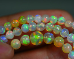 30.615 CRT BEAUTIFUL OPAL BALLS NECKLACE MULTI PLAY COLOR WELO OPAL-