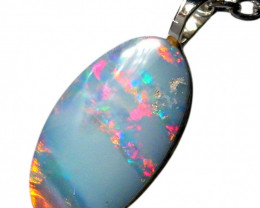 Australian Opal Pendant Solid Sterling Silver Doublet 2.6ct