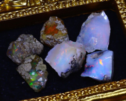 SALES 41.00Ct Multi Color Play Ethiopian Welo Opal Rough Lot G1005/R2