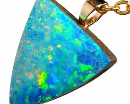 Australian Opal Doublet Pendant 4ct 14k Jewelry Gift E15
