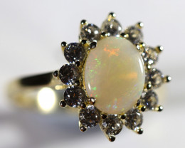 925 ST/ SILVER GOLD PLATED SOLID OPAL RING [FR90]