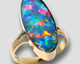 Australian Opal Ring Sz7 Rare Red Blue! Doublet Gem 15.7ct #E63