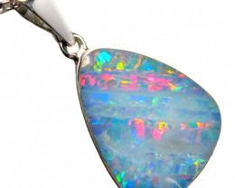 Opal Pendant Australian Silver Jewelry 6.8ct Necklace Gem Gift E56