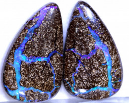 63.20-CTS  BOULDER   OPAL  PAIR PRE DRILLED NC-9532   Niceopals