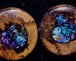 52.20-CTS  BOULDER   OPAL WOOD  PAIR PRE DRILLED NC-9533   Niceopals